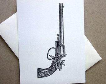 Gun Note Cards Set of 10 with Matching Envelopes