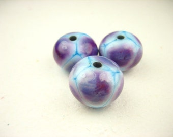Handmade Lampwork glass Focal Bead set blue turquise teal purple round spacer bead set