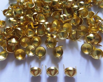 100 pcs Gold Tone Cone Stud spot spike for apparel - size 8 mm