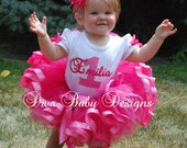 baby girls 1st birthday outfit-  Posh Princess pink polka dot girls ribbon tutu outfit made with ANY age and name
