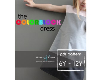 Colorblock dress pattern and tutorial 6-12y EASY SEW fully lined jumper tunic