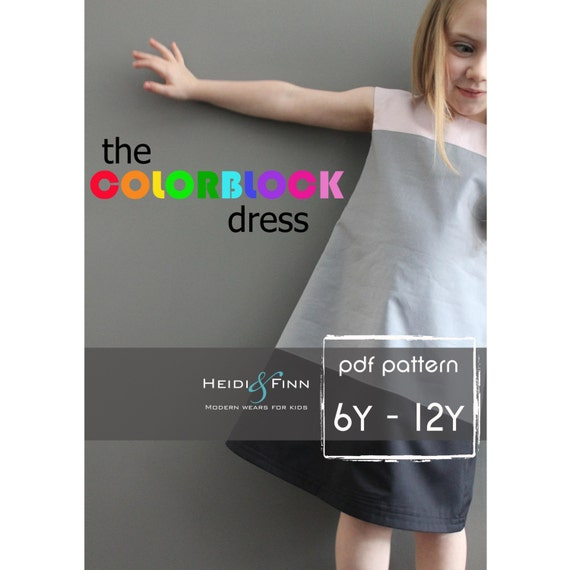 Colorblock dress pattern e tutorial 6-12y facile cucire completamente foderato tunica ponticello