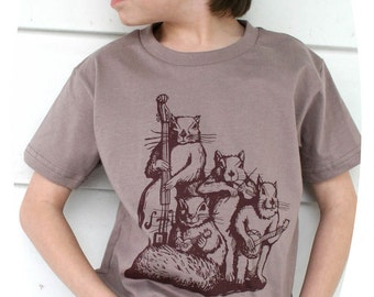 SALE CLEARANCE / Squirrel Blue Grass Band T-Shirt Organic American Apparel Cinder Color Tee for Kids