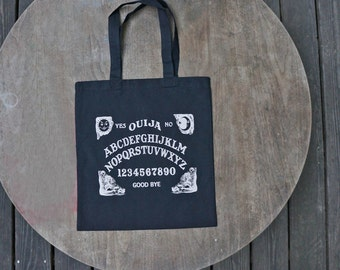 Ouija Board Retro Style Black Cotton Tote Bag with Vintage White print / Steam punk Tote