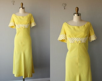 1960s Maxi Dress | 1960s Cocktail Dress | 1960s Formal Dress | 60s Lorrie Deb dress | Yellow Maxi Dress - size large