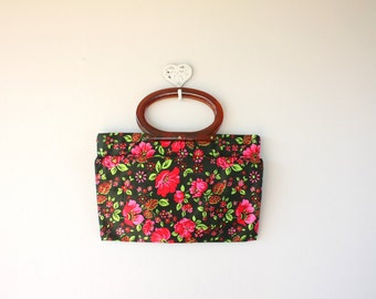 floral bag / 60s tote / 60s foldover clutch / 1960s mod bag / floral purse / floral tote with lucite handles