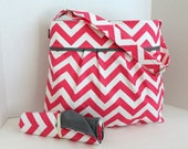 CLOSEOUT SALE - Monterery Chevron Large Diaper Bag Set - In Hot Pink Chevron and Grey - With Adjustable Strap - With Elastic Pockets