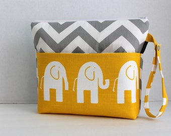 Large Zippered Diaper Clutch - Attach to Stroller - Grey Chevron and Yellow Elephants