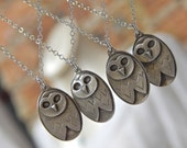 Reserved for Julie....Owl Necklace in fine silver and sterling