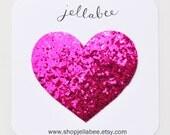 Large Chunky Glitter Heart Snap Clip / Magenta