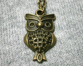 Owl Necklace, Bird Necklace, Vintage Look, Owl Pendant