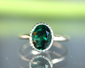 Green Quartz Sterling Silver Ring, Gemstone RIng, Milgrain Detials In No Nickel / Nickel Free - Made To Order