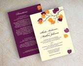 Orange and Purple Wedding Invitations - Fall Wedding Invitations - Purple and Orange Wedding Invitation - Custom Online Invites - Serena