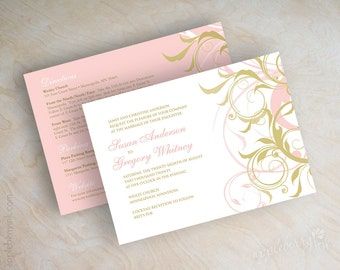 Pink and gold wedding invitations, gold and pink wedding invitation, pink and gold invites, gold and pink wedding invitations, Lania