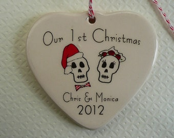 CUSTOM - Our 1st Christmas - Day of the Dead Ornament