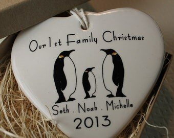 CUSTOM - Our 1st Family Christmas Heart Ornament - your names, image and year
