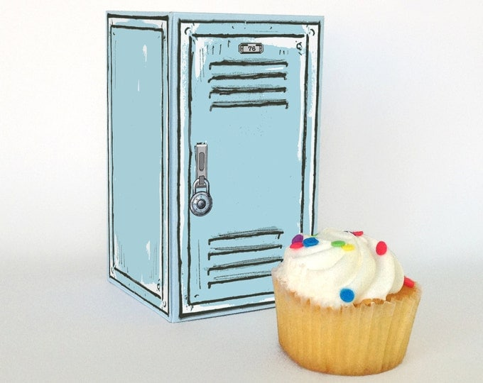 Retro School Locker Box - a great cupcake box, gift box, teacher gift or back-to-school treat - INSTANT download DIY Printable PDF Kit