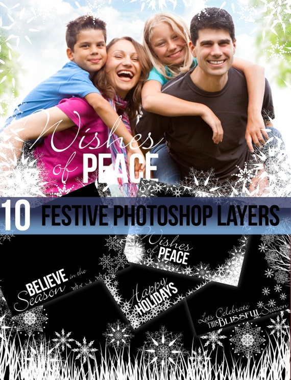 Photograph Christmas Greeting snowflakes festive Photo Frames Borders> snowy photograph frames > photoshop layers >Christmas Greeting frames
