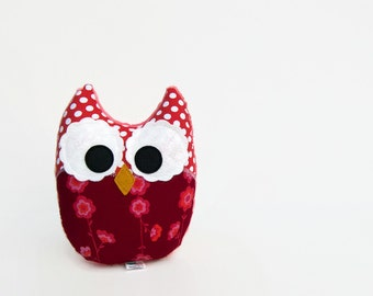 Plush Owl Stuffed Toy Red Crimson Coral