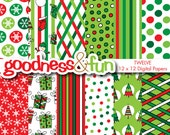 Buy 2, Get 1 FREE - Very Merry Christmas Digital Papers - Digital Christmas Paper Pack - Instant Download