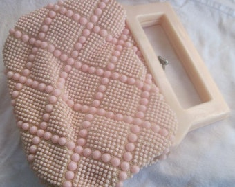 SALE Vintage Pink Beaded Bag with coin purse