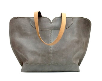 Gray Leather tote, big leather bag, Women bag , The perfect all day tote bag by Ayelet Shachar