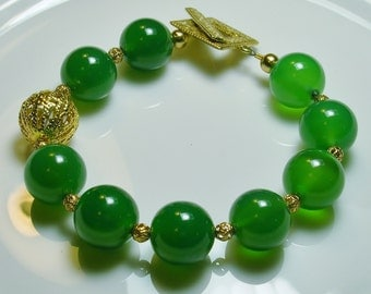 One-of-a-Kind Green Agate Bracelet with gold-plated findings