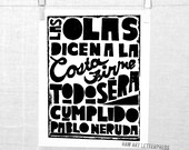 PRINT - Wall Art - Ode to Hope, Pablo Neruda Poetry Print, Letterpress Quote, Typography, Wall Art, Apartment Decor