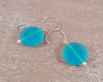 Bright Blue Frosted Glass Earrings