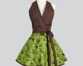 Sexy Womens Halter Apron , Fleur Swirl Peridot Green and Brown Halter Top Sexy Cute Flirty Vintage Style Womens Full Hostess Apron