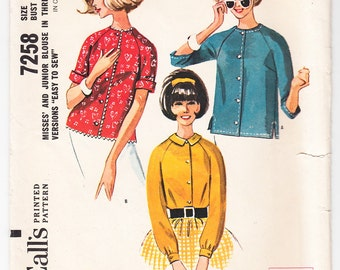 Vintage 1964 McCall's 7258 Sewing Pattern Misses' Blouse in Three Versions Size 13 Bust 33