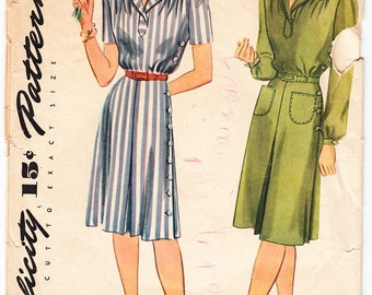 Vintage 1944 Simplicity 1046 FF Sewing Pattern Misses', Women's Dress Size 18 Bust 36
