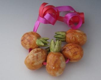 Beads, Ceramic Beads, Ceramic Fruit Beads, Ceramic Pineapple Fruit Bead, Ceramic