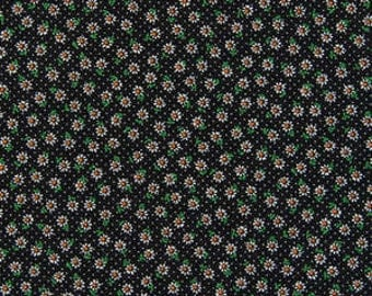Romantic Memories  Cotton Fabric Cosmo Quilt Gate AP8787-11G Tiny white daisy flowers on black