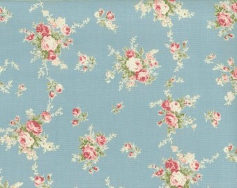 Yuwa Pink Roses on Blue Cotton Fabric 812874C