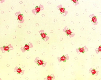 Yuwa Pink Bows with Rose Centers on  Cream Cotton Fabric AT816879E