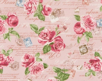 Cosmo Cotton Fabric  ap42401-2b Roses and script on pink