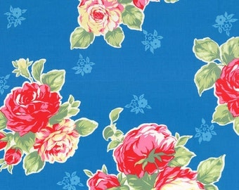 Flower Sugar Spring 2014 Large Roses on Blue Cotton Fabric  by Lecien 30967-70