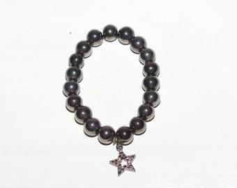 Gunmetal Hematite Large Bead Star Bracelet