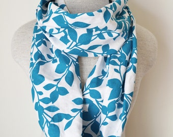 Teal and White Floral Infinity Scarf