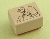 Japanese Cat Wooden Rubber Stamp - Cat Writing Letter - Pottering Cat