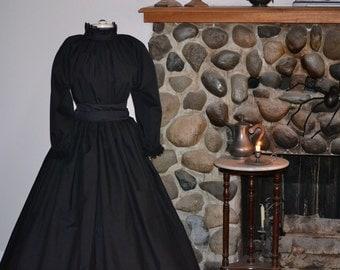 Civil War Victorian Pioneer Mourning Dress Colonial Prairie Pioneer skirt blouse Womens