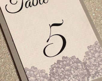 Hydrangea table numbers, wedding reception, floral