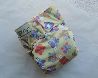 AIO One Size Velour Diaper from Sadie's Babies, Butterfly Flurry