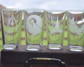 Set of 4 Etched Glass Star Trek Pint glasses for Trekkies, Vulcans, Klingons, Federation of Planets, quirky fun, Sci-Fi by Jackglass on Etsy