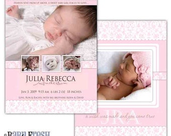 Instant Download - Photoshop PSD layered Templates for Photographers - Birth Announcement - Julia design