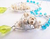 Coral Castaways - One of a kind real coral and glass earrings - beach earrings - treasures - ocean - seaside wedding - bridesmaid - bridal