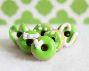 Green Donut Pushpins, Polymer Clay Donut Pushpins, Novelty Pushpins