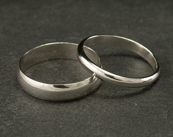 Wedding Band Set, Wedding Rings, Silver Wedding Rings, Sterling Silver Wedding Bands, Wedding Ring Set, Silver Ring Band