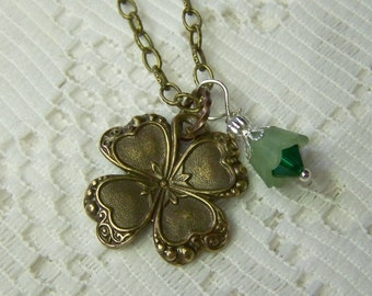 Antiqued Gold CLOVER Necklace, Lucky Charm, Irish jewelry, four leaf clover, LUCKY SHAMROCK pendant